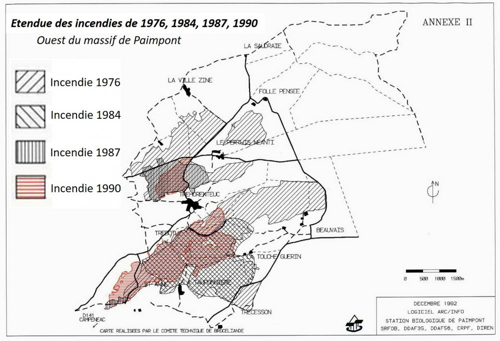 Carte des incendies de 1976 à 1990